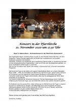 Konzert in der Pfarrkirche vom 21.11.2020